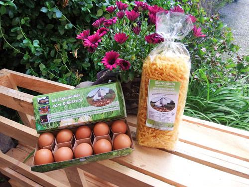 Wiesenhühner vom Zinnerhof - Nudeln aus Eiern von Hühnern aus dem Hühnermobil